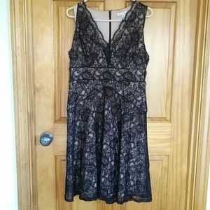 Lacy Overlay Black Dress Tan Lining Size 8